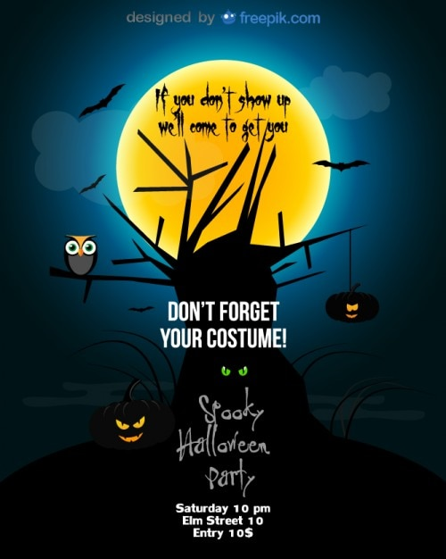 Halloween Party Flyer Blue Template Vector | Free Download