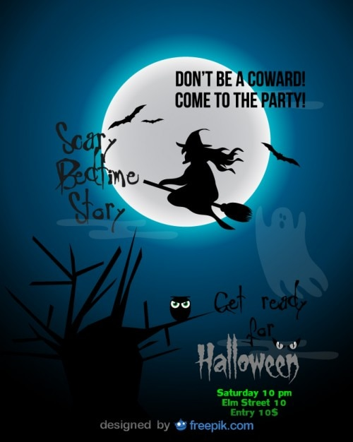 Halloween Party Flyer Blue Witch Template Vector | Free Download