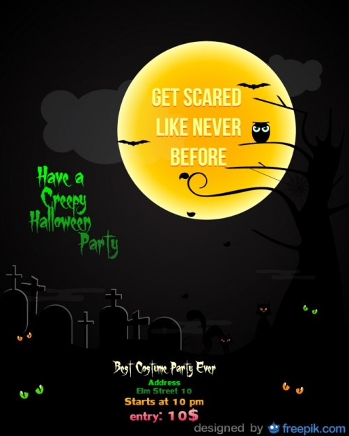Halloween Party Flyer cementery black\ Template