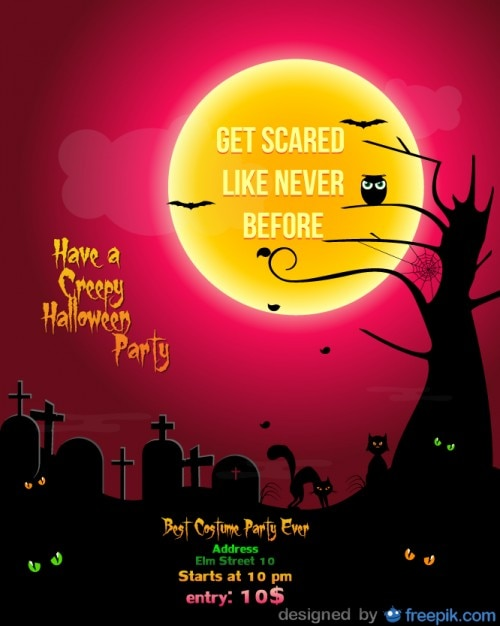 Halloween Party Flyer cementery red\ Template