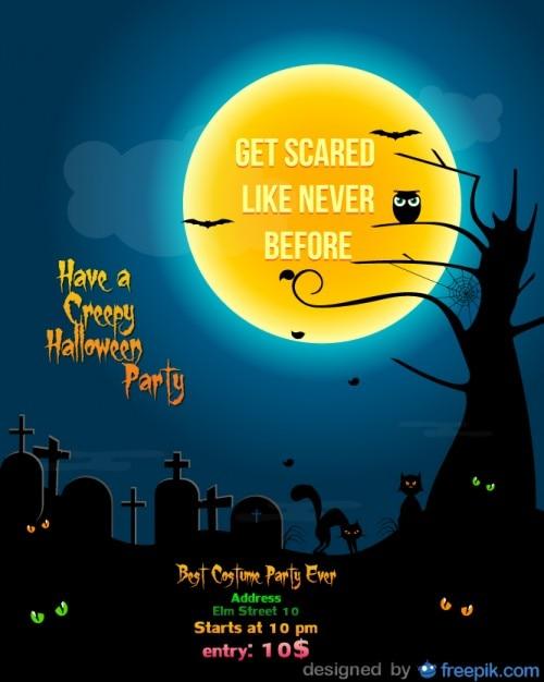 Halloween Party Flyer Cementery Template