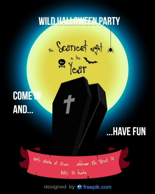 Halloween Party Flyer Coffin Template Vector | Free Download