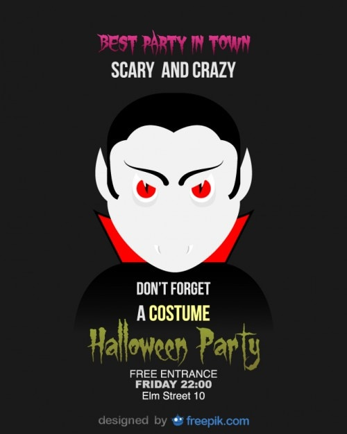 Halloween Party Flyer Dracula Template Vector | Free Download