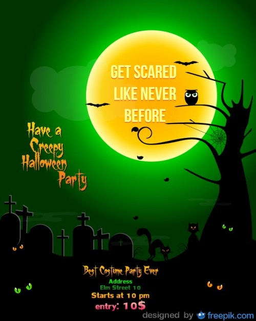 Halloween Party Flyer Green night cementery\ Template
