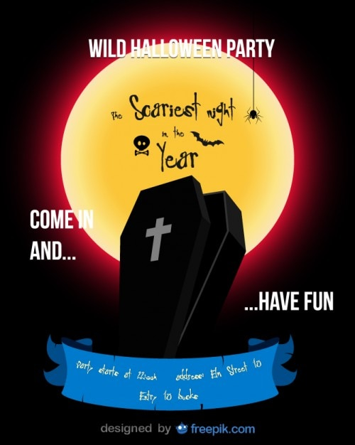 Halloween Party Flyer Red Coffin\ Template