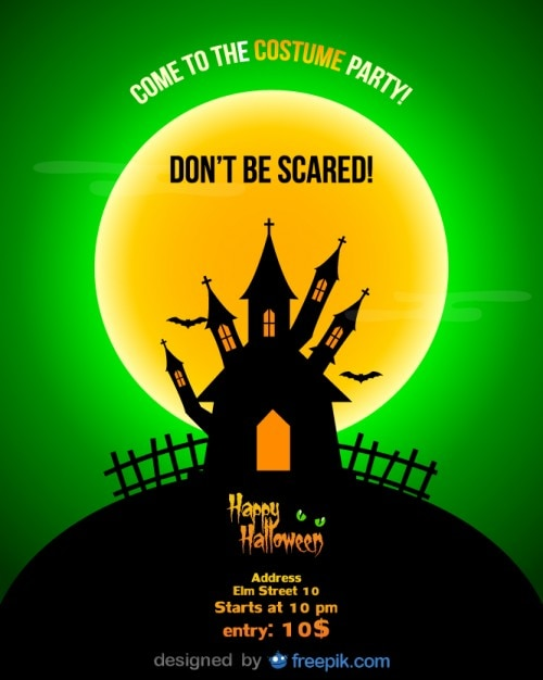 halloween party flyer template and a full moon vector free download