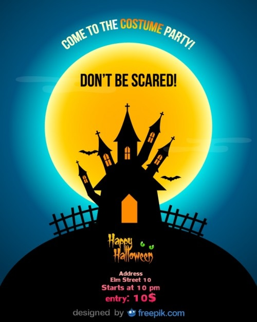 Halloween Party Flyer Template blue\ night
