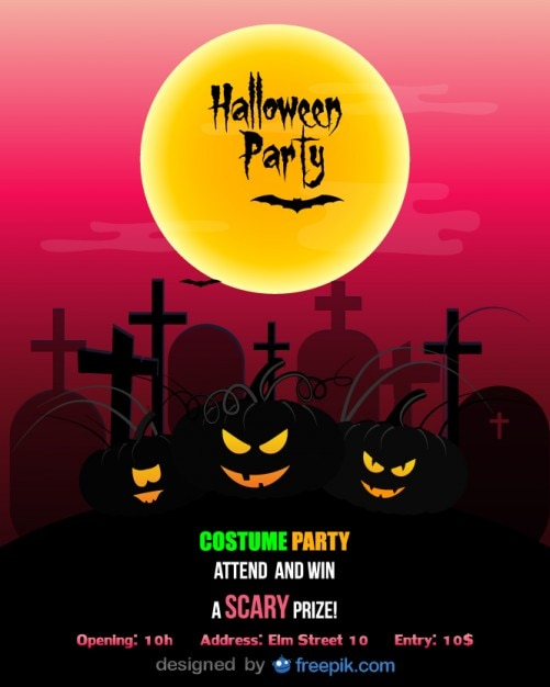 Halloween Party Flyer Template Costume Party Vector | Free Download