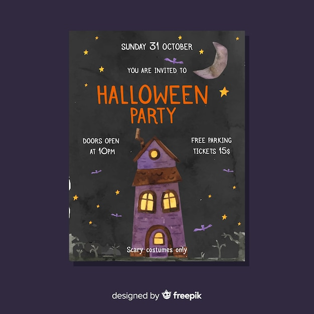 Halloween party flyer template in haunted house Free Vector