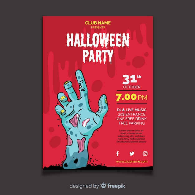 Halloween party flyer template with flat design Free Vector