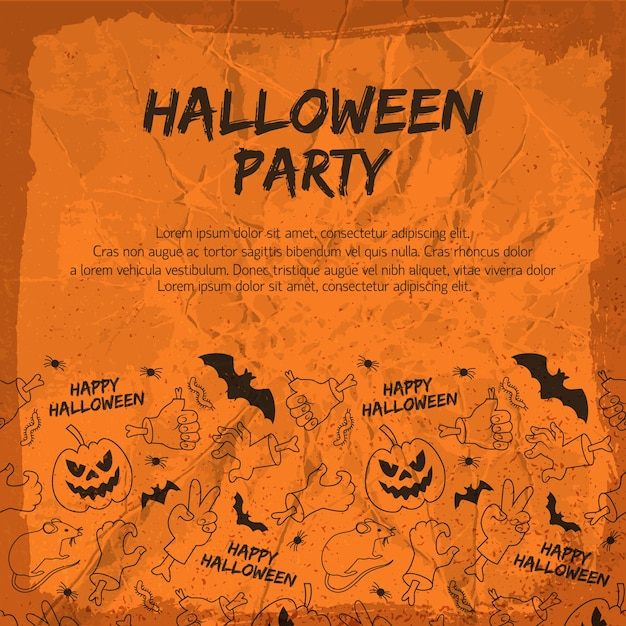 Halloween party flyer with animals lanterns from pumpkin hands and gestures Free Vector