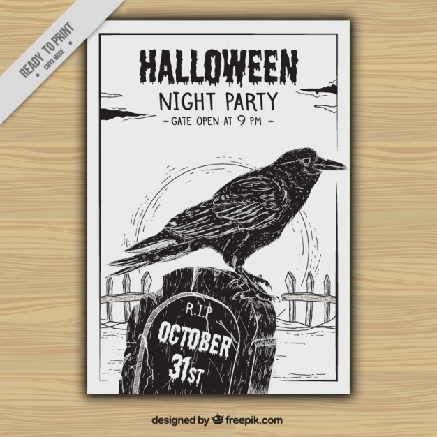 Halloween party flyer with crow and hand drawn tomb Free Vector