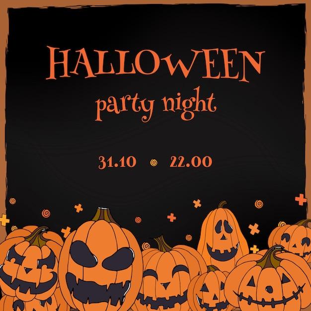 Halloween party flyer with jack o lanterns Premium Vector