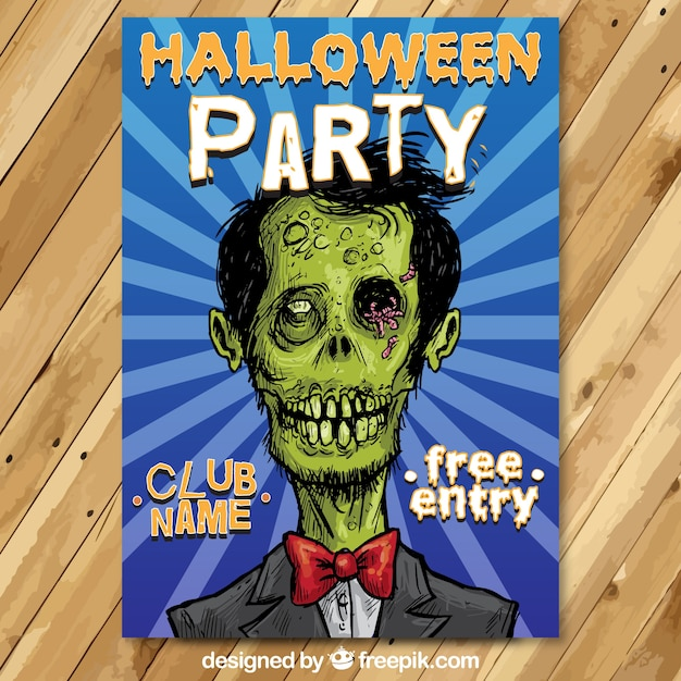 Halloween party flyer with a sketchy zombie Free Vector