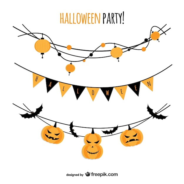 Halloween party garlands Free Vector