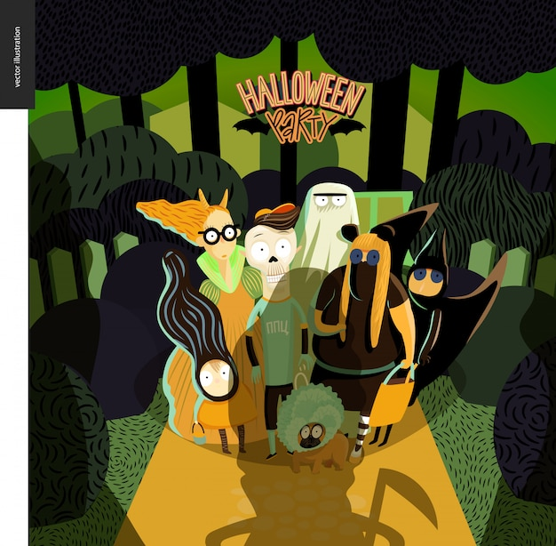 Halloween party greeting card Premium Vector