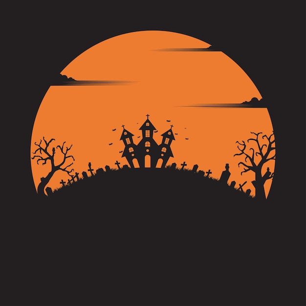 Halloween party. holiday night background. silhouette concept. pumpkin. illustration flat Premium Vector