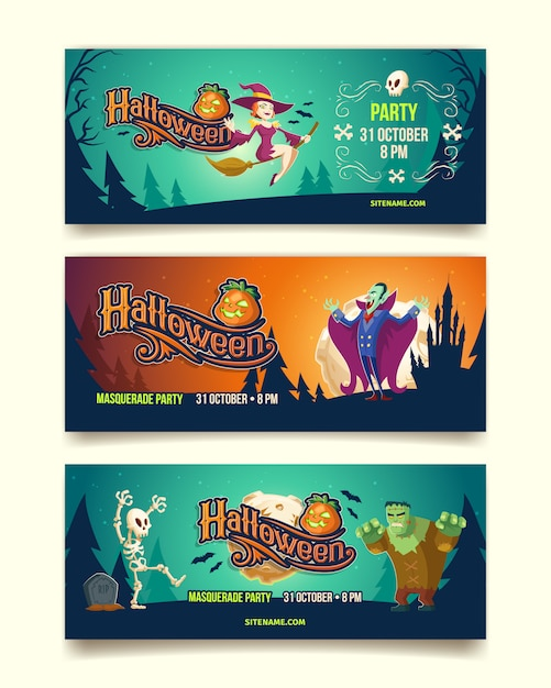 Halloween party illustration of invitation cards or banners. Free Vector