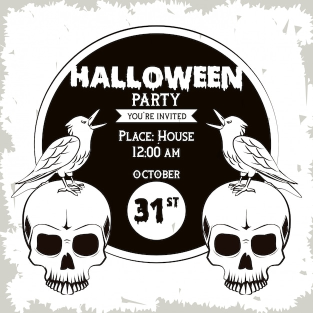 Halloween party invitation card in black and white Premium Vector