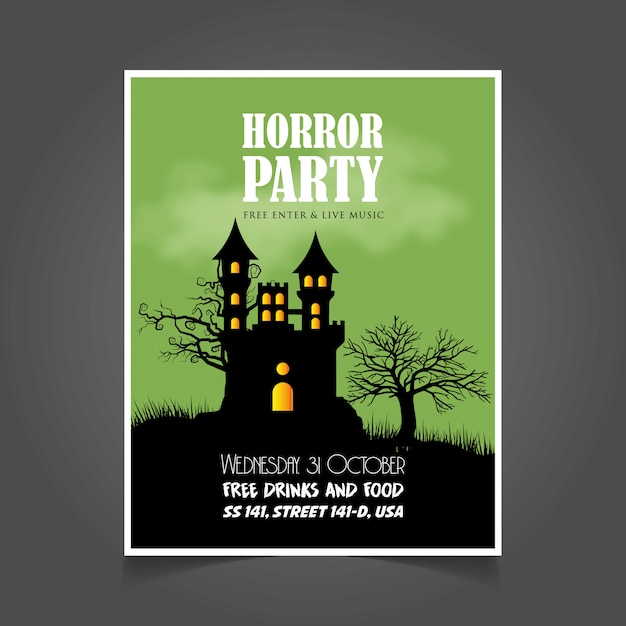 halloween party invitation card with creative design vector vector