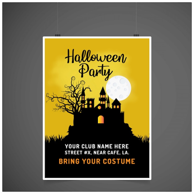 Halloween party invitation card with creative design vector Free Vector