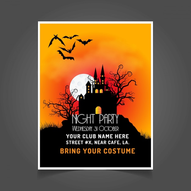 Halloween Party Invitation Card With Dark Background Vector Free