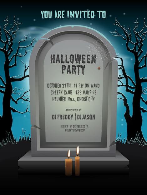 묘지에서 템플릿 텍스트와 함께 밤에 오래 된 묘비와 할로윈 파티 초대 카드 프리미엄 벡터