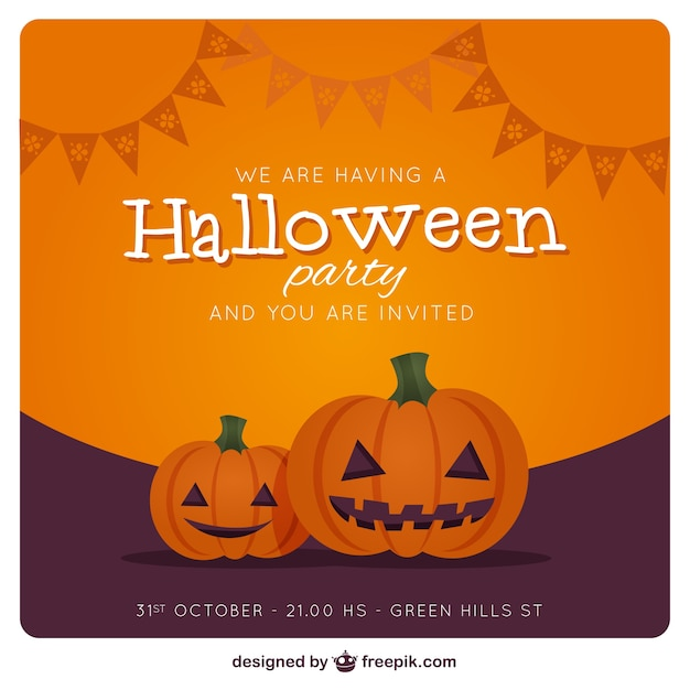 Halloween party invitation card with pumpkins vector free download halloween party invitation card with pumpkins free vector stopboris Gallery