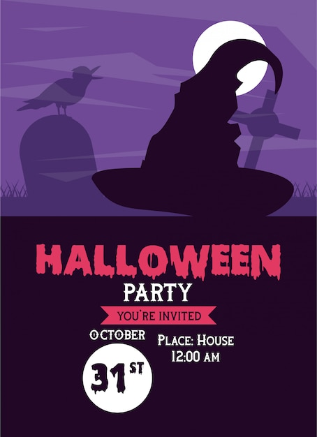 Halloween Party Invitation Card Vector Premium Download