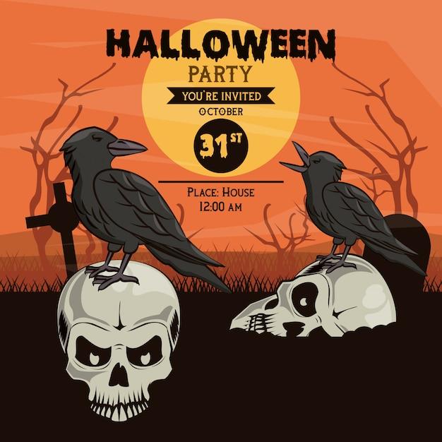 Halloween party invitation card Premium Vector
