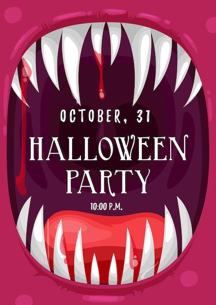 血まみれの口で叫ぶ吸血鬼のフレームでハロウィーンパーティーの招待状のポスター Premiumベクター