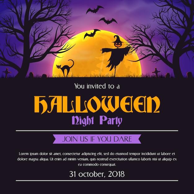 Хэллоуин партии приглашение плакат шаблон страшные силуэты и место для текста. Premium векторы