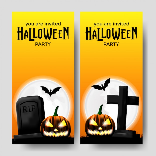 Halloween party invitation template with grave Premium Vector