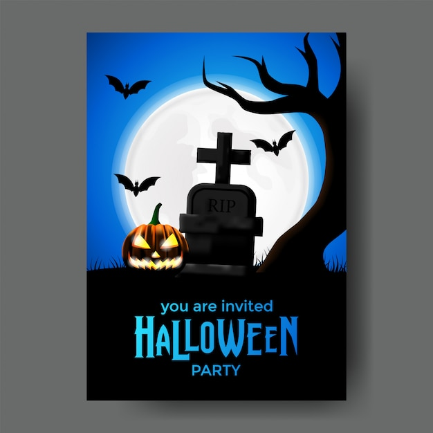 halloween party invitation template with grave vector premium download