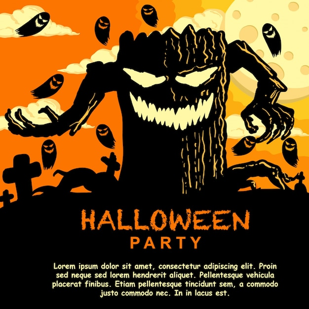Halloween party invitation template with monster tree vector halloween party invitation template with monster tree premium vector stopboris Gallery