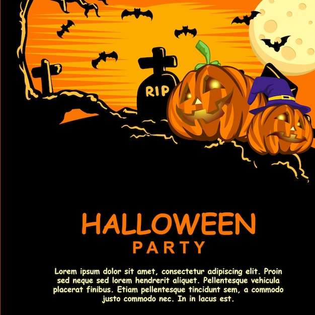 Halloween party invitation template with pumpkin head vector halloween party invitation template with pumpkin head premium vector maxwellsz