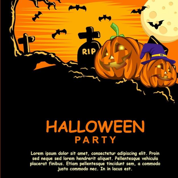 Halloween Party Invitation Template With Pumpkin Head Premium Vector