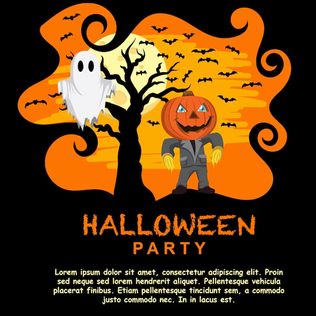 halloween party invitation template with pumpkin head vector