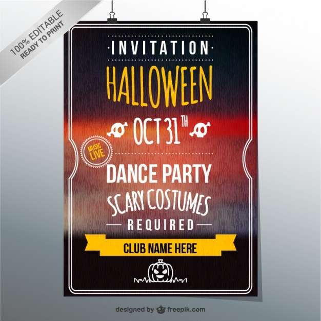 halloween party invitation template vector free download