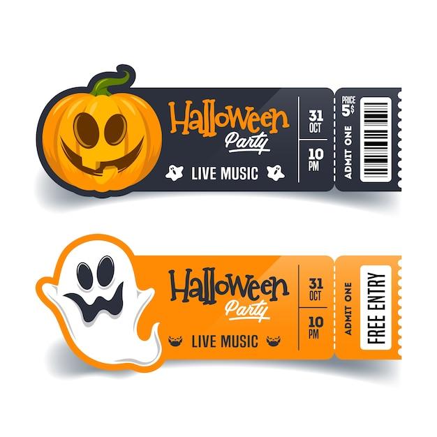 Пригласительные билеты на хэллоуин Premium векторы