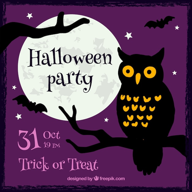 Halloween Party Invitation With A Owl Vector Free Download