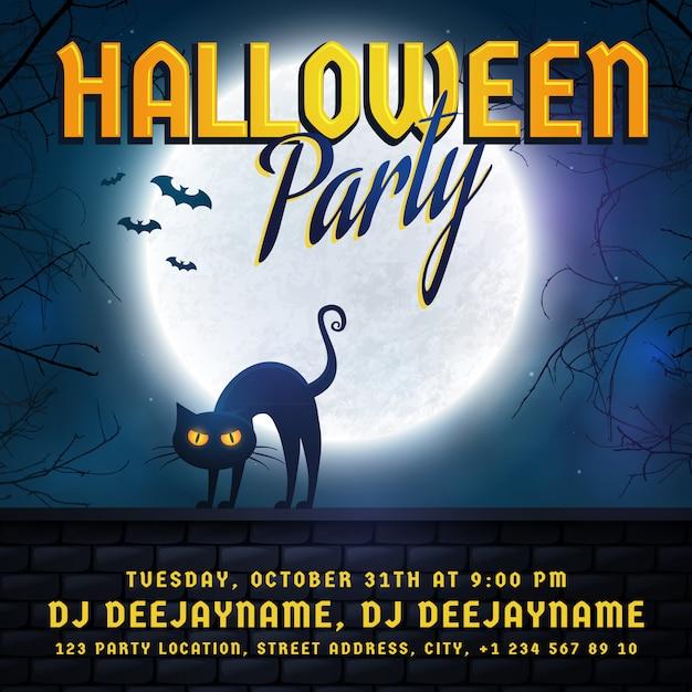 Halloween party invitation. Premium Vector