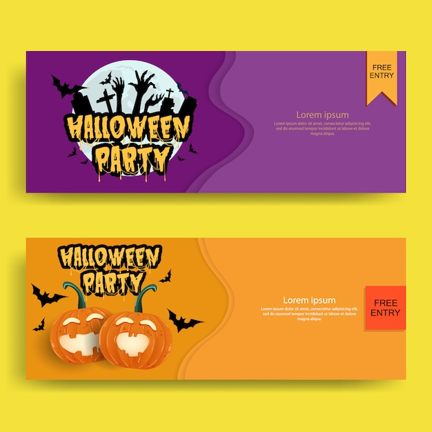 Halloween party invitations or greeting cards Premium Vector