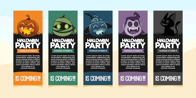 Halloween party invitations with illustration of halloween costume Premium Vector