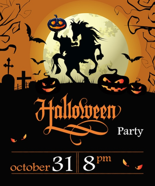 Halloween party lettering with date, headless horseman and moon Free Vector