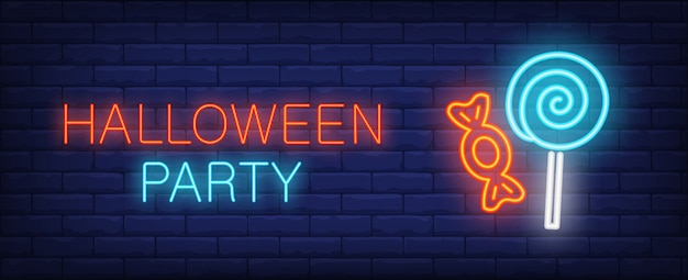 Halloween party neon style banner with treat on brick background Free Vector