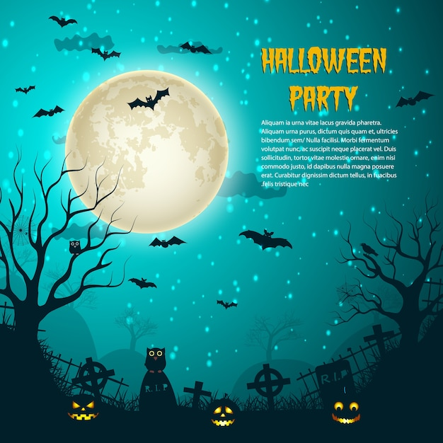 Halloween party night moon poster with glowing moon on night star sky and cemetery crosses over graves flat Free Vector