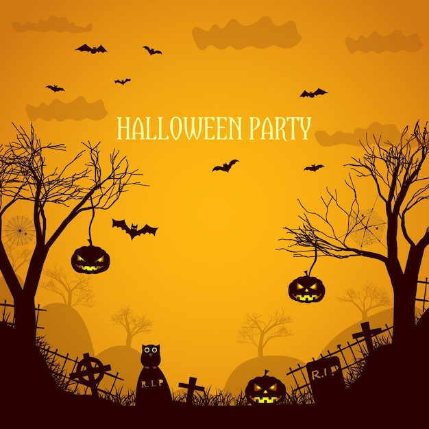 Halloween party orange illustration with silhouettes  of dead trees spooky pumpkin faces and gravestones flat Free Vector