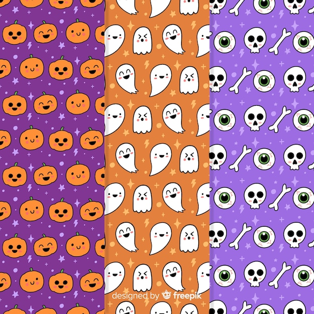Halloween party pattern collection with pumpkins and skulls Free Vector
