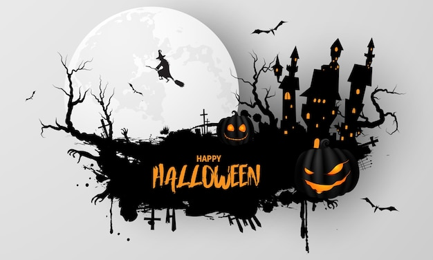 Halloween party poster. carnival background concept design Premium Vector